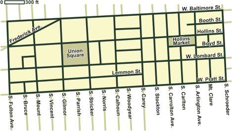 Map of Union Square / Hollins Market Historic District