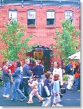 Union Square: Sowebo Arts Festival - Crowds inside and outside the Carriage House