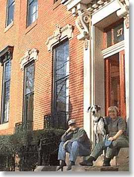 Union Square: Stoop-sitting - a time-honored Baltimore tradition - enjoyed by Fran, Debbie, and one of their Great Danes